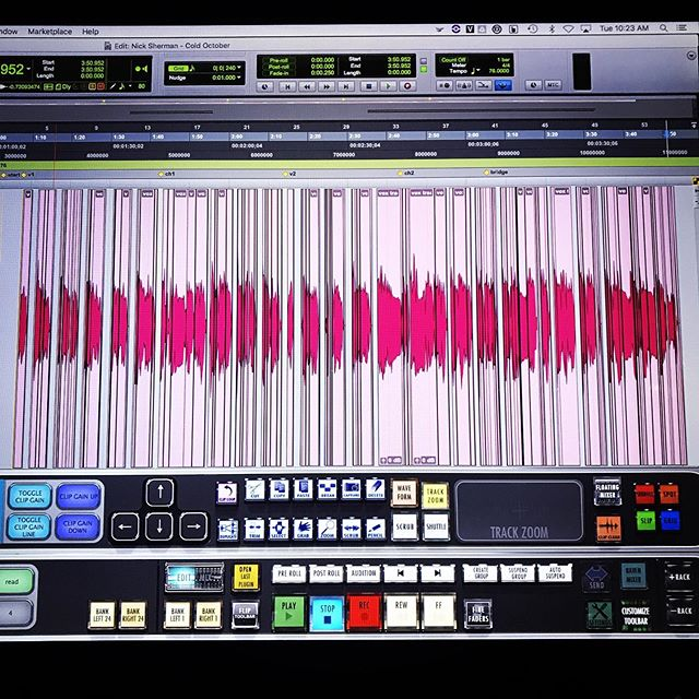 My vocal editing standards are a little over the top. This is all deplosive, deEss, debreath and spot eq'ing. #protools #u87 #vocals #editing