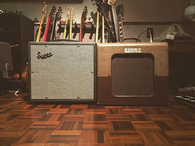 Nothing quite like a pair a small amps. @suprousa @guildguitars #vintageamp #twoisbetterthanone #guitar #guitaramp #supro #suprosupreme #guild #guildmasteramp