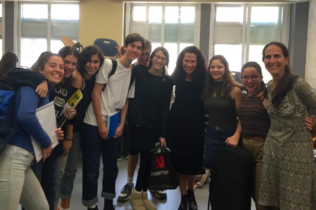With students at Talma Yalin Arts High School, Tel Aviv, and their teacher Cherylyn Vardi
