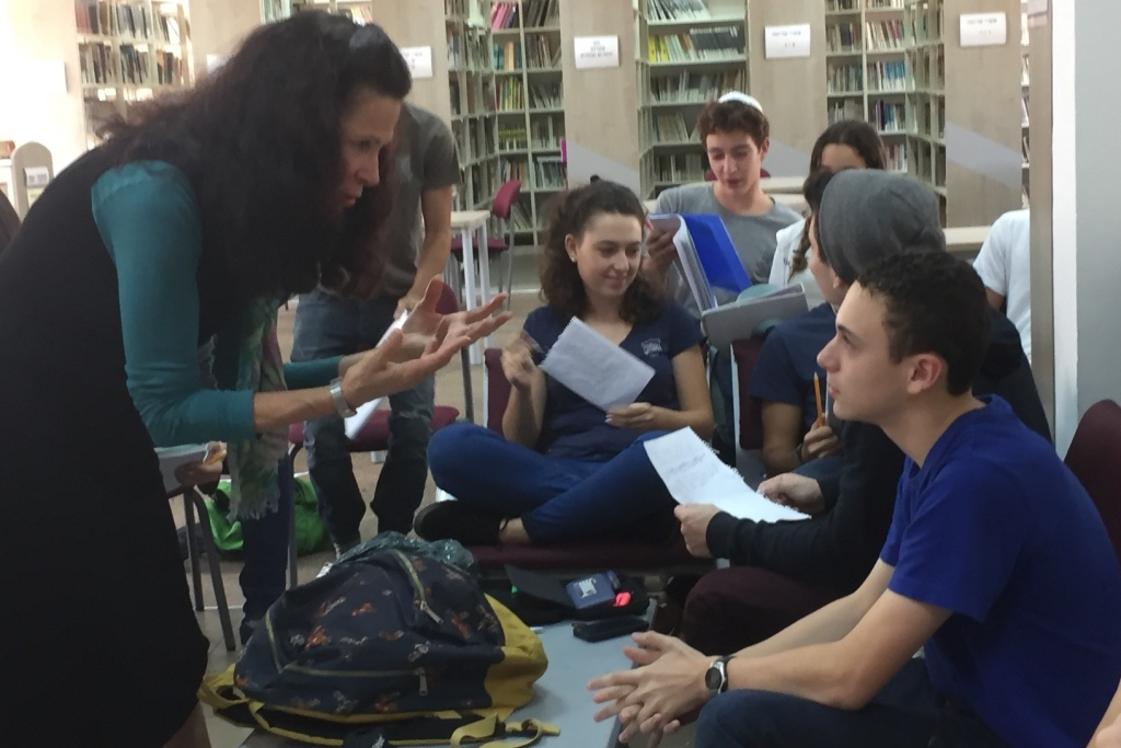 Talking poetry with a student at Makif Yehud High School, Tel Aviv