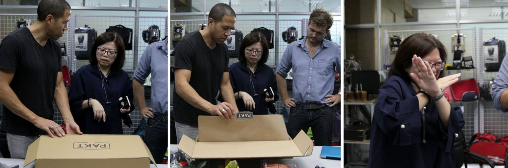 "Left and Middle: SeaHive and Pakt founder Malcolm Fontier in Vietnam with Claire showing the packing steps on the packaging prototype.  Right: Claire making what became her signature ""X"" move"
