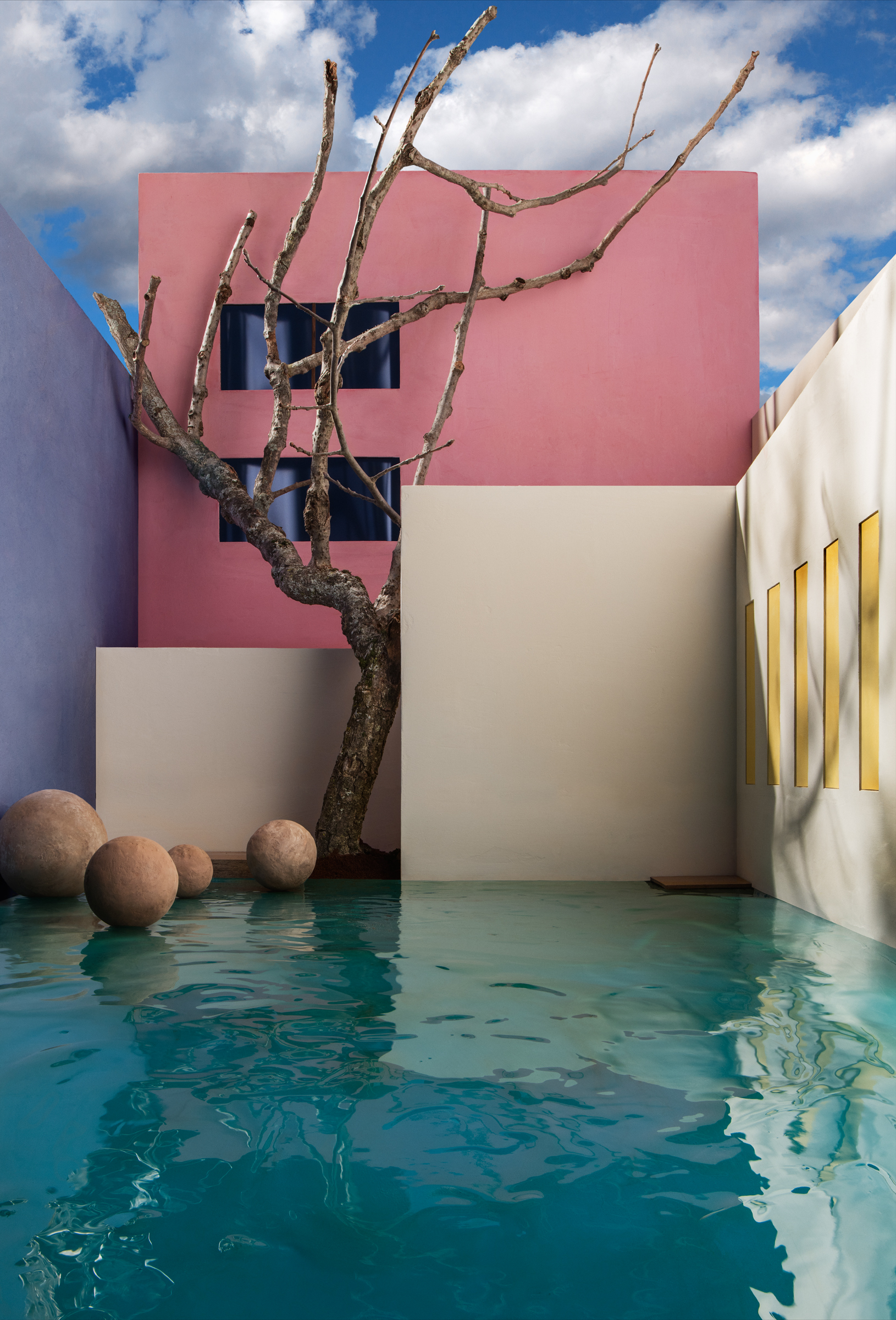 Flooded Courtyard with Tree , 2017
