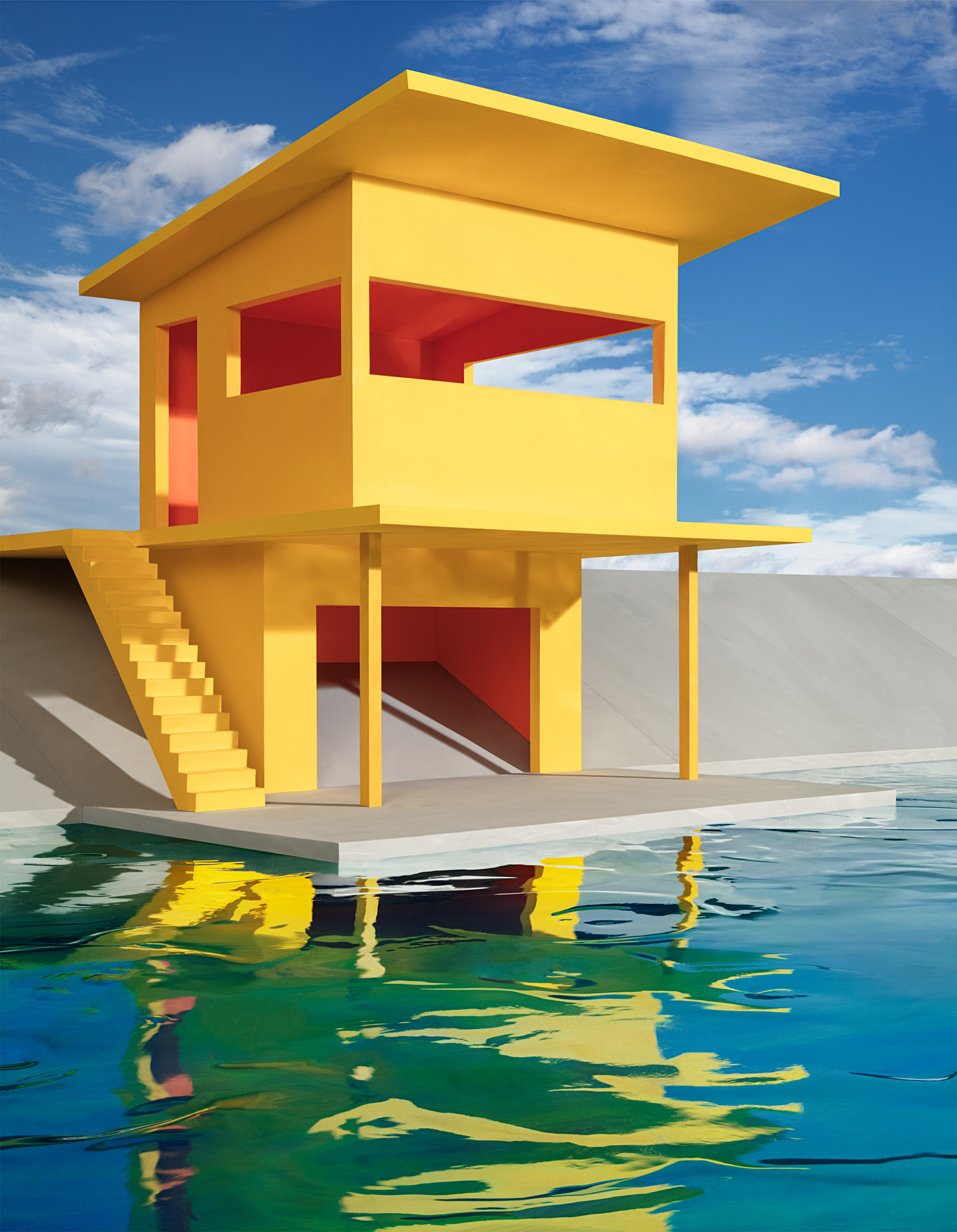 Bright Yellow House on Water , 2018
