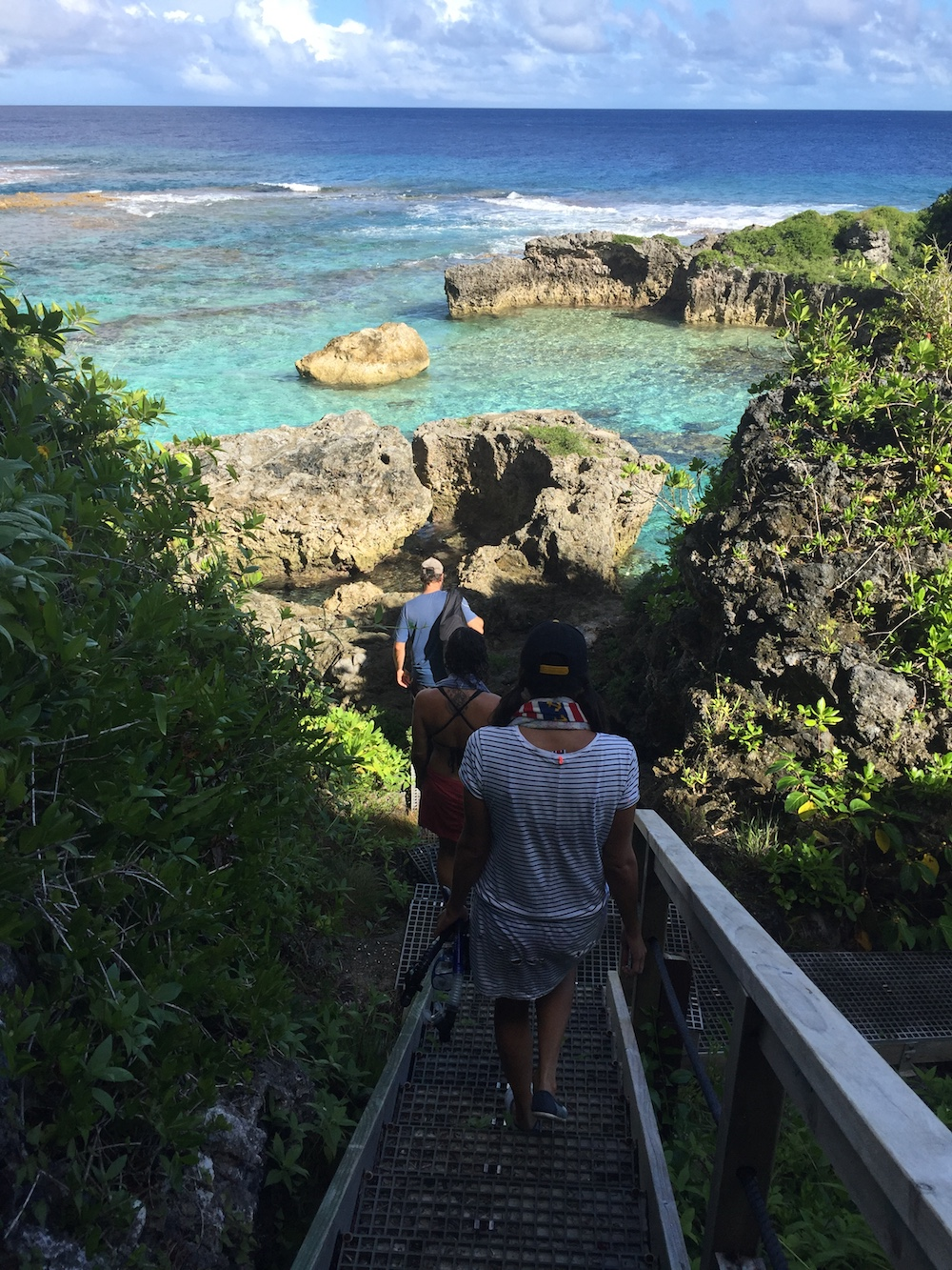 Walking the sea track down to Lima Pools in Niue.