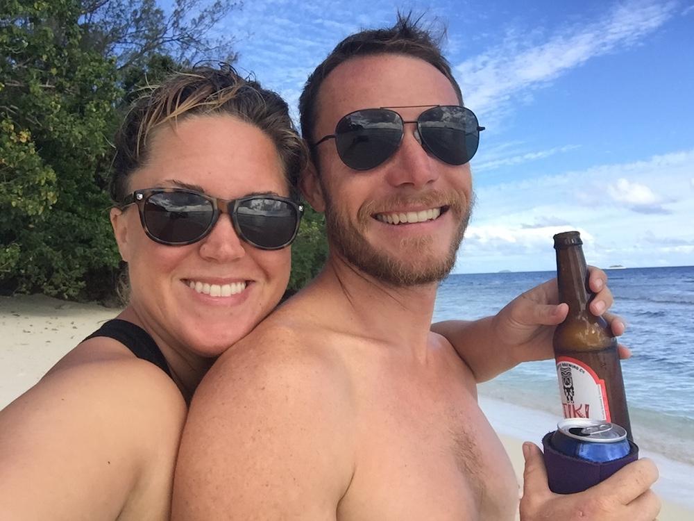 Cheers to Tongan white sand beaches!