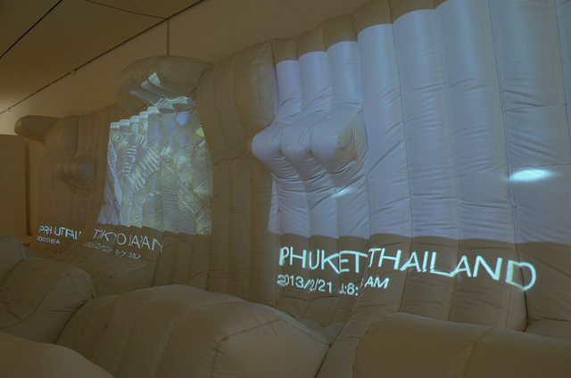 Jordan Geiger's  Day for Night , an inflatable lounge with live global A/V feeds.