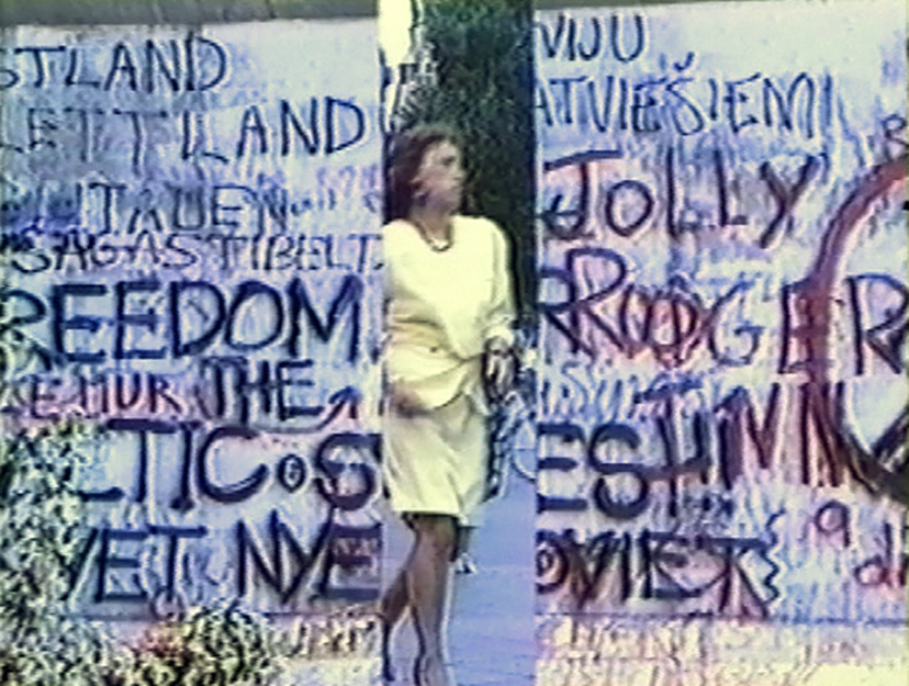 Still from  A Hole in the Berlin Wall,  video, 1989.