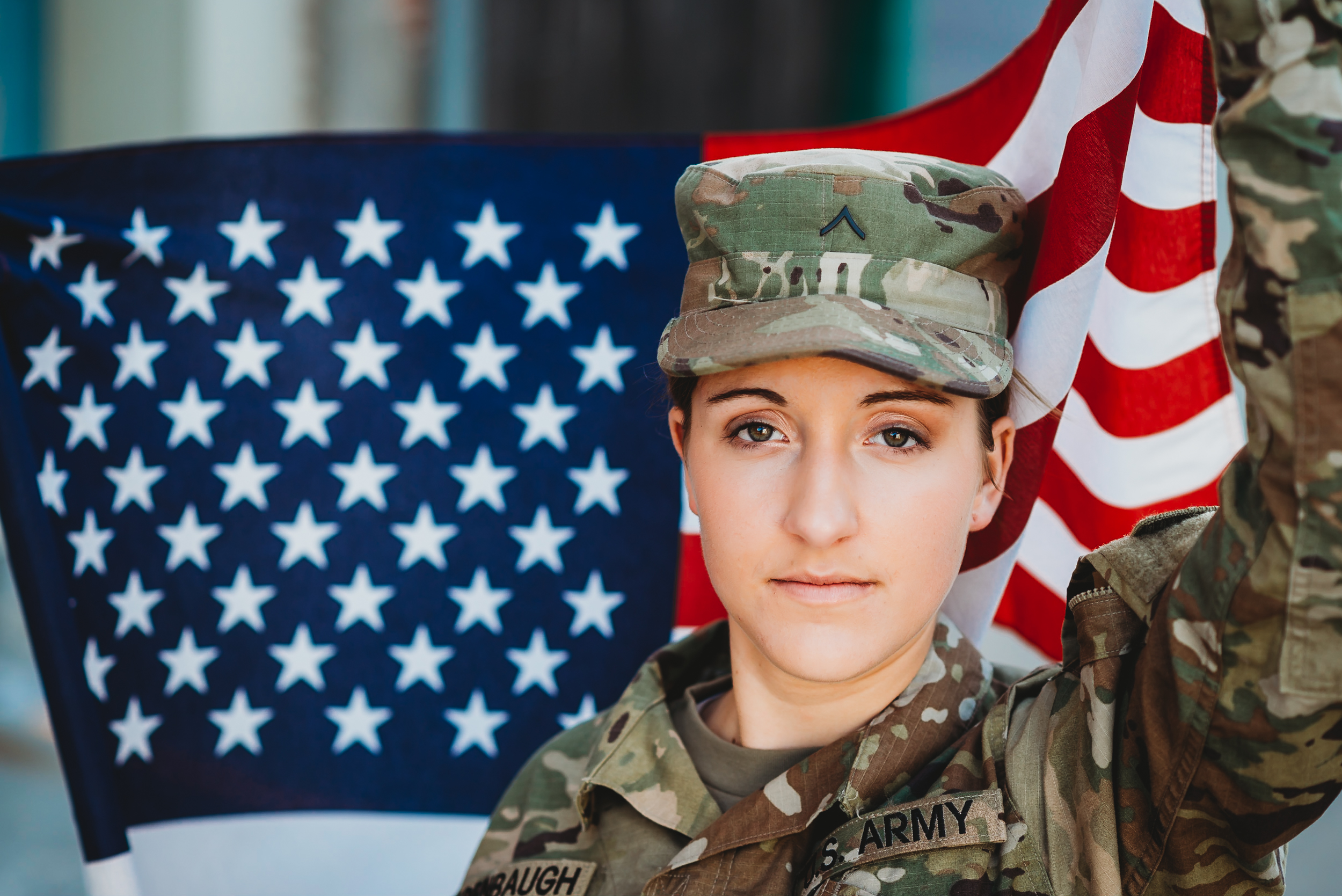 american flag, soldier senior photos, flag, mcpherson kansas senior