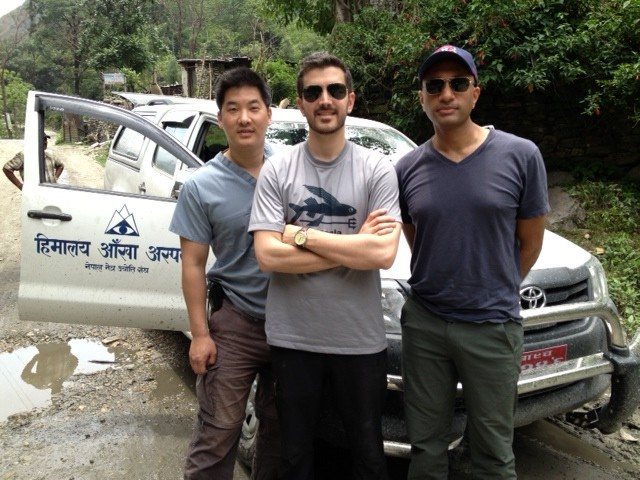 Our eye docs from Operation Restore Vision take a break from an arduous 8-hr. 4WD odyssey to the first eye camp in Tukuche.nFrom left to right:Christopher Teng, MD –Travis Jenkins, MD –Sanjay Kedhar, MD