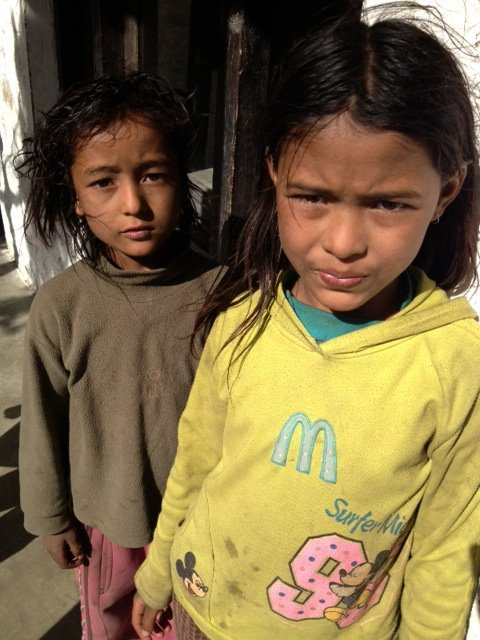 Two young visitors to Kagbeni clinic