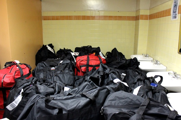 These are the bags we unloaded late Saturday night into a storage room at the hospital.