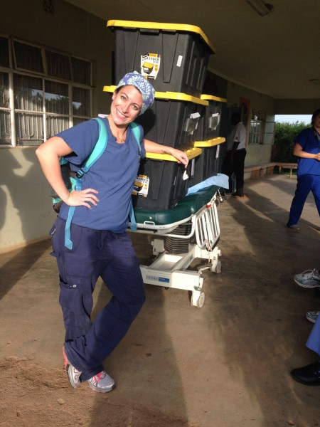 Erin Vernetti, Operation Room Nurse, waiting to load up the crates being brought back to the US