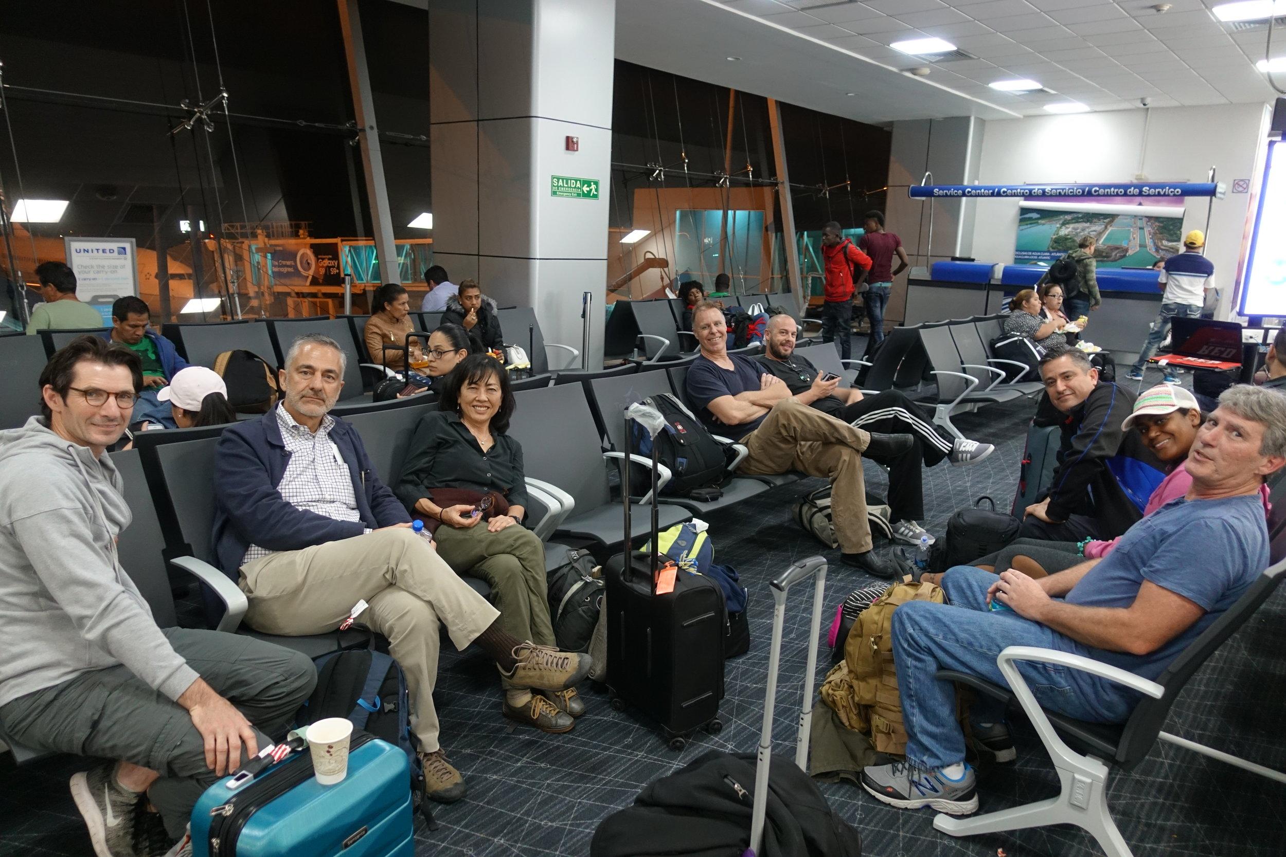 Chris Pivik, Touraj Touran, Jan Takasugi, Jeff Bartlett, Mikey Hibbard, Robert Casillas, Natalie Robinson, Patrick Leary at airport in Panama!