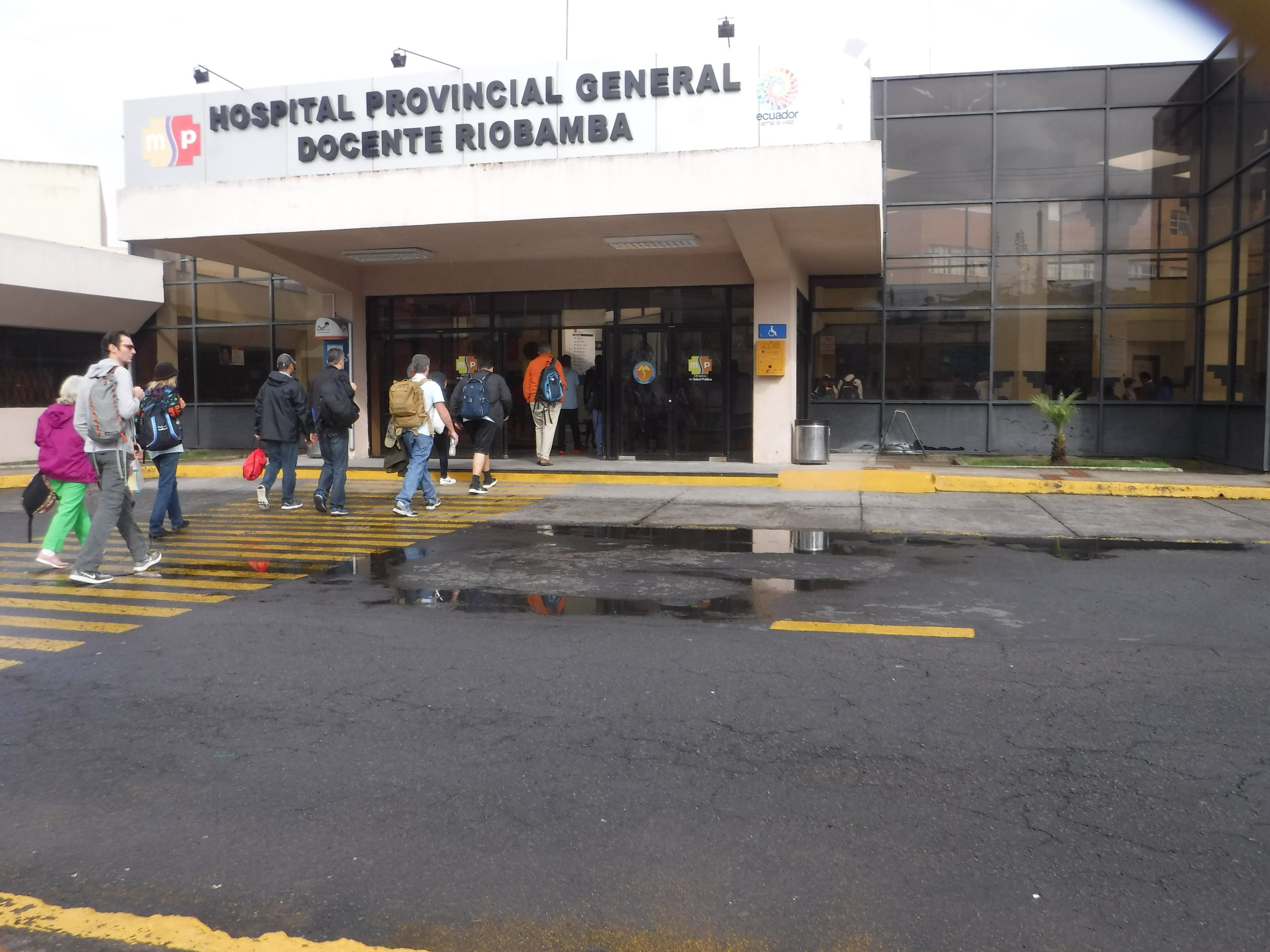 Retrieving supplies from baggage claim in Quito