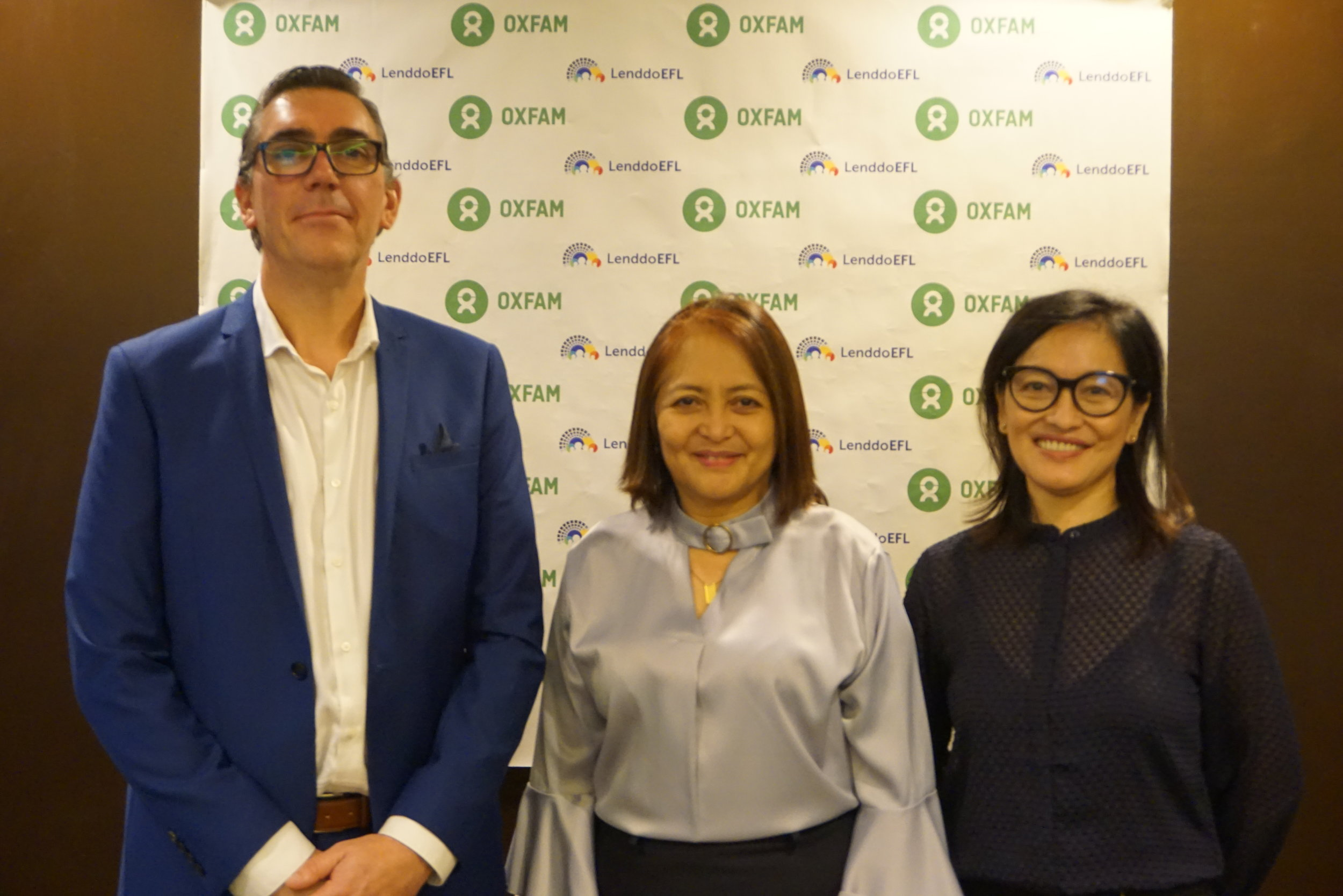 LenddoEFL CEO Paolo Montessori (left) and Oxfam Philippines Country Director Maria Rosario Felizco (right) during a meeting with BSP Deputy Governor Chuchi Fonacier (center) on June 6, 2019.