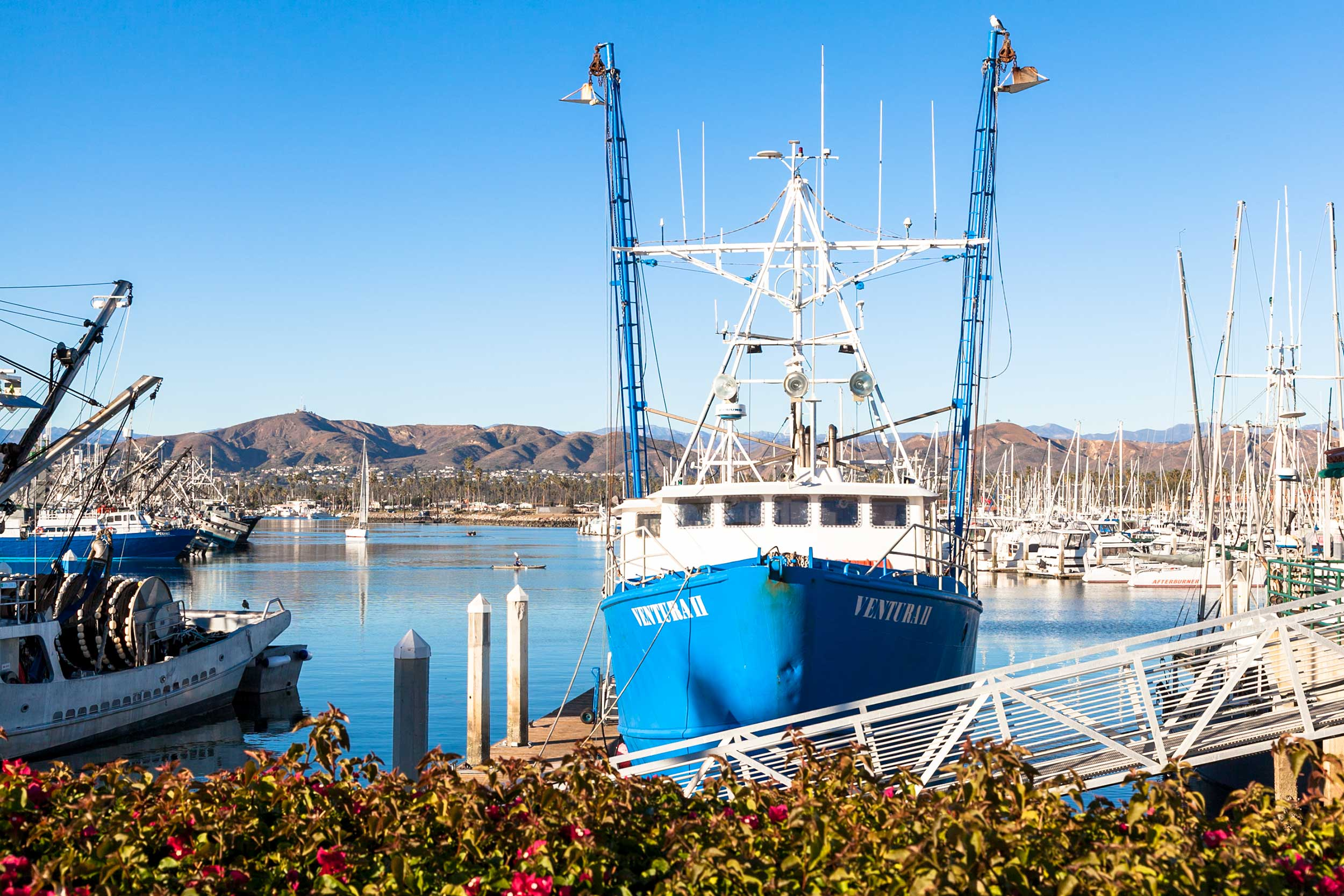 View of the Ventura harbor and Fishing Boats outside Andria's Seafood