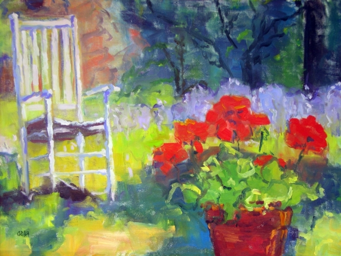 Rebecca A. Stone-Danahy.  Summer Garden.  2007. Oil Paint on Canvas. Private Collection of Joseph and Tricia Hovorka.