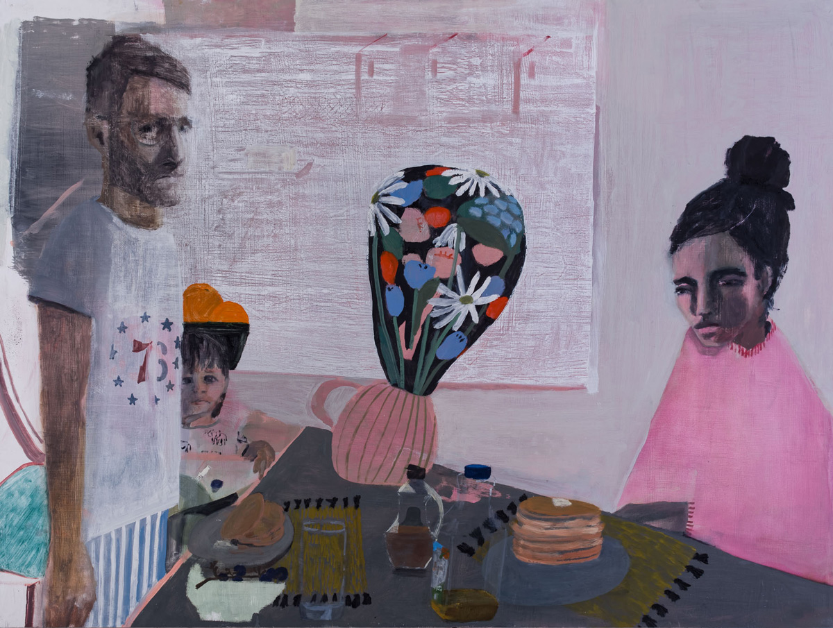 Aubrey Levinthal, Breakfast at 13th St., 2018, oil on panel, 36 x 48 inches.