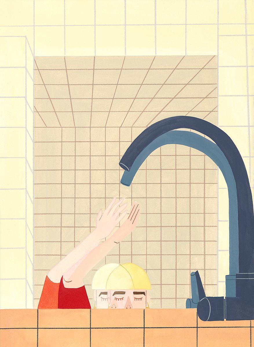 Kelly Bjork,  Wash + Balance Me , 2019, gouache & pencil on paper, 19 x 15 inches.