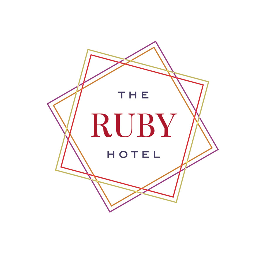 Proposed identity for the ruby hotel, a boutique hotel in the AUstin, Texas market area.