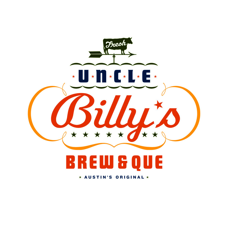 One of a family of identity graphics for Uncle Billy's, a Texas barbecue ad microbrewery