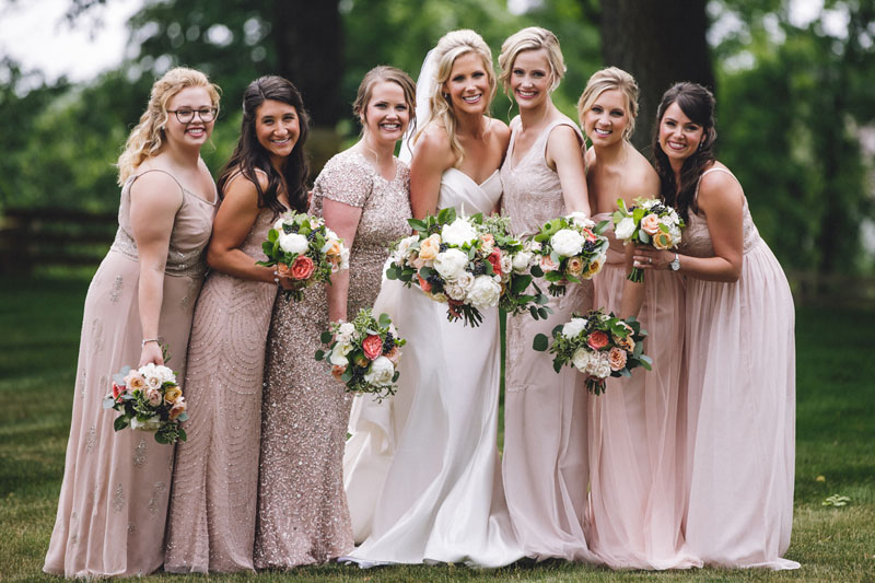 bridal party at cornman farms wedding bouquets by red poppy floral design ann arbor