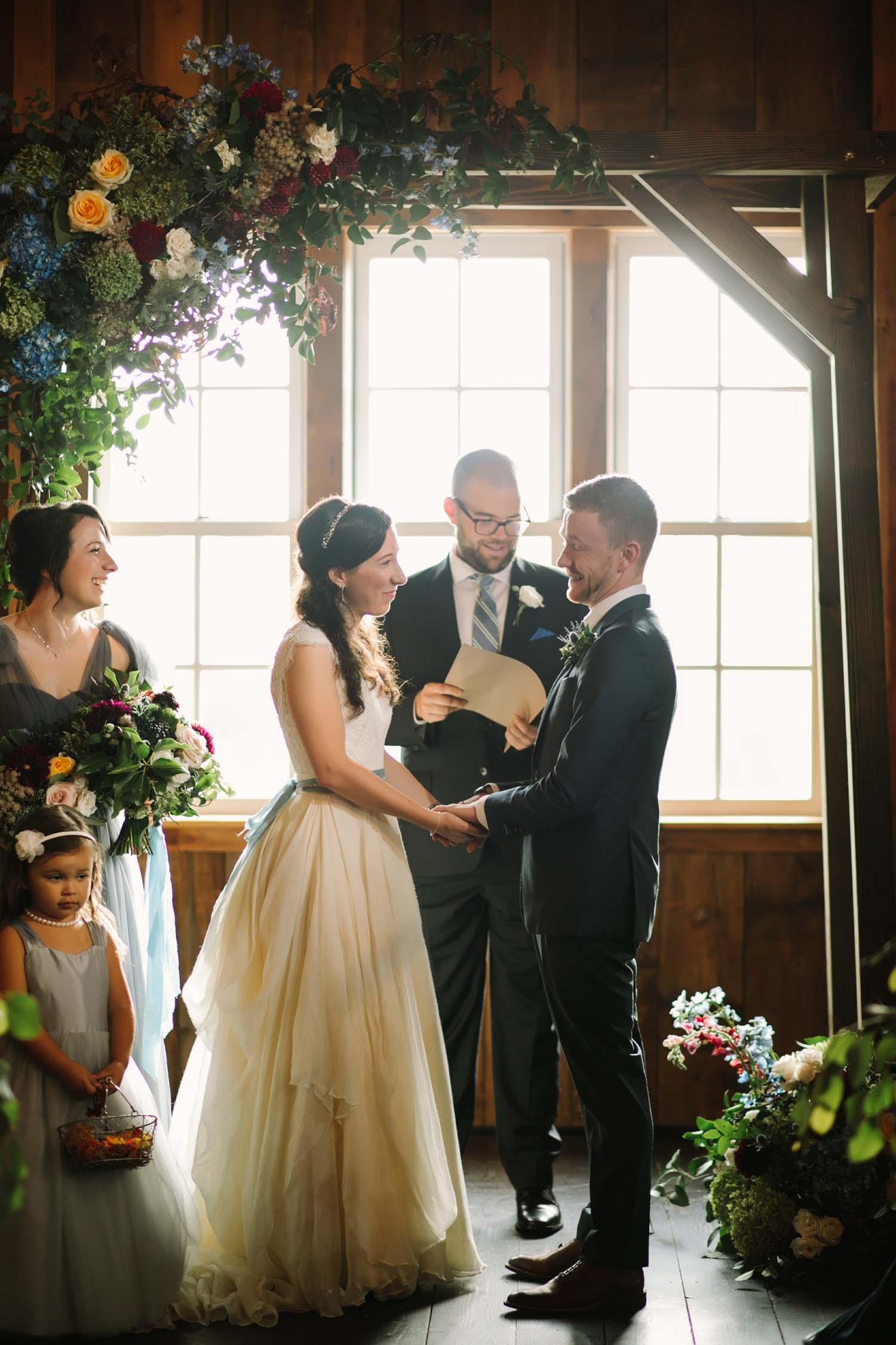 flower arch for cornman farm wedding