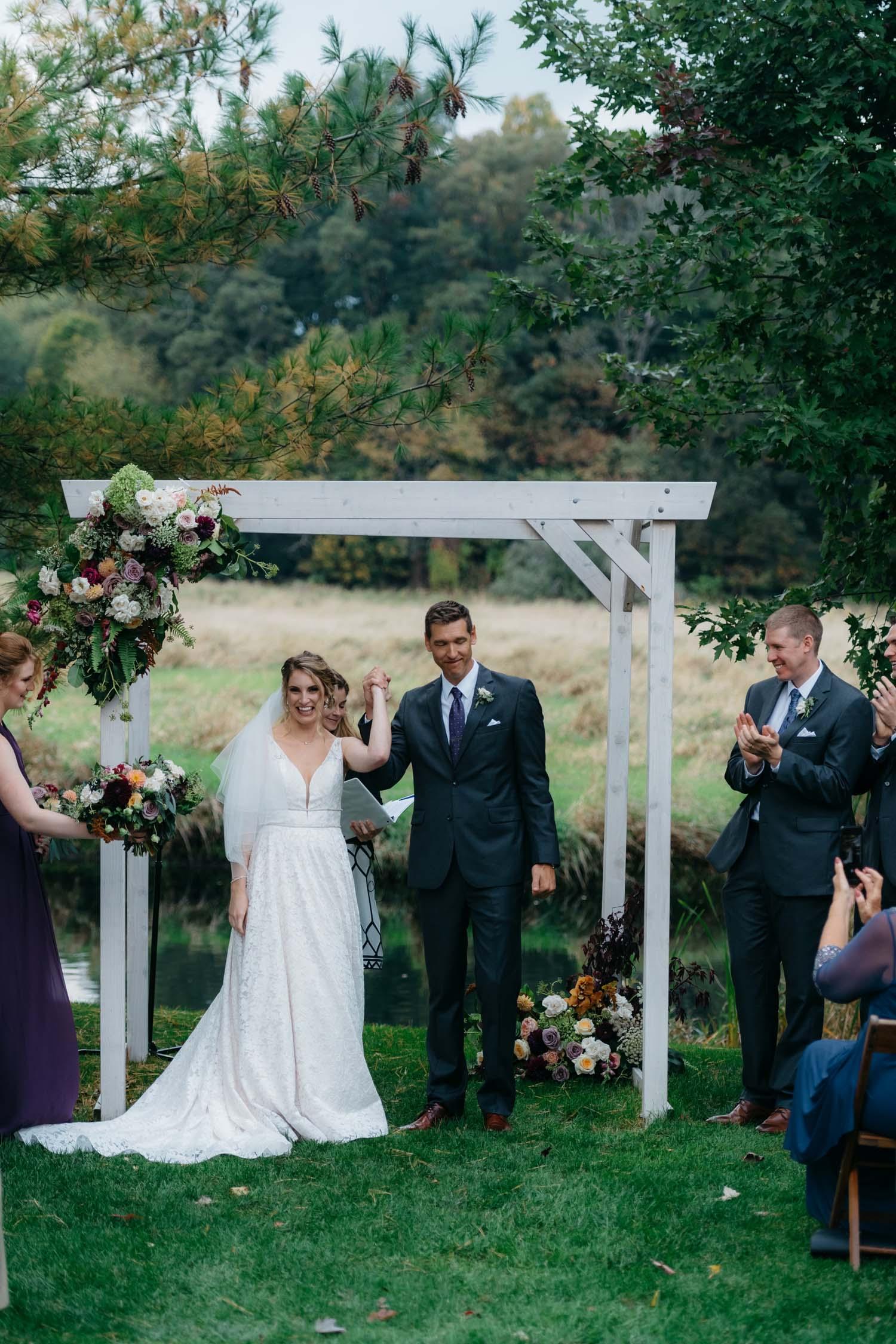 misty farm wedding ceremony autumn