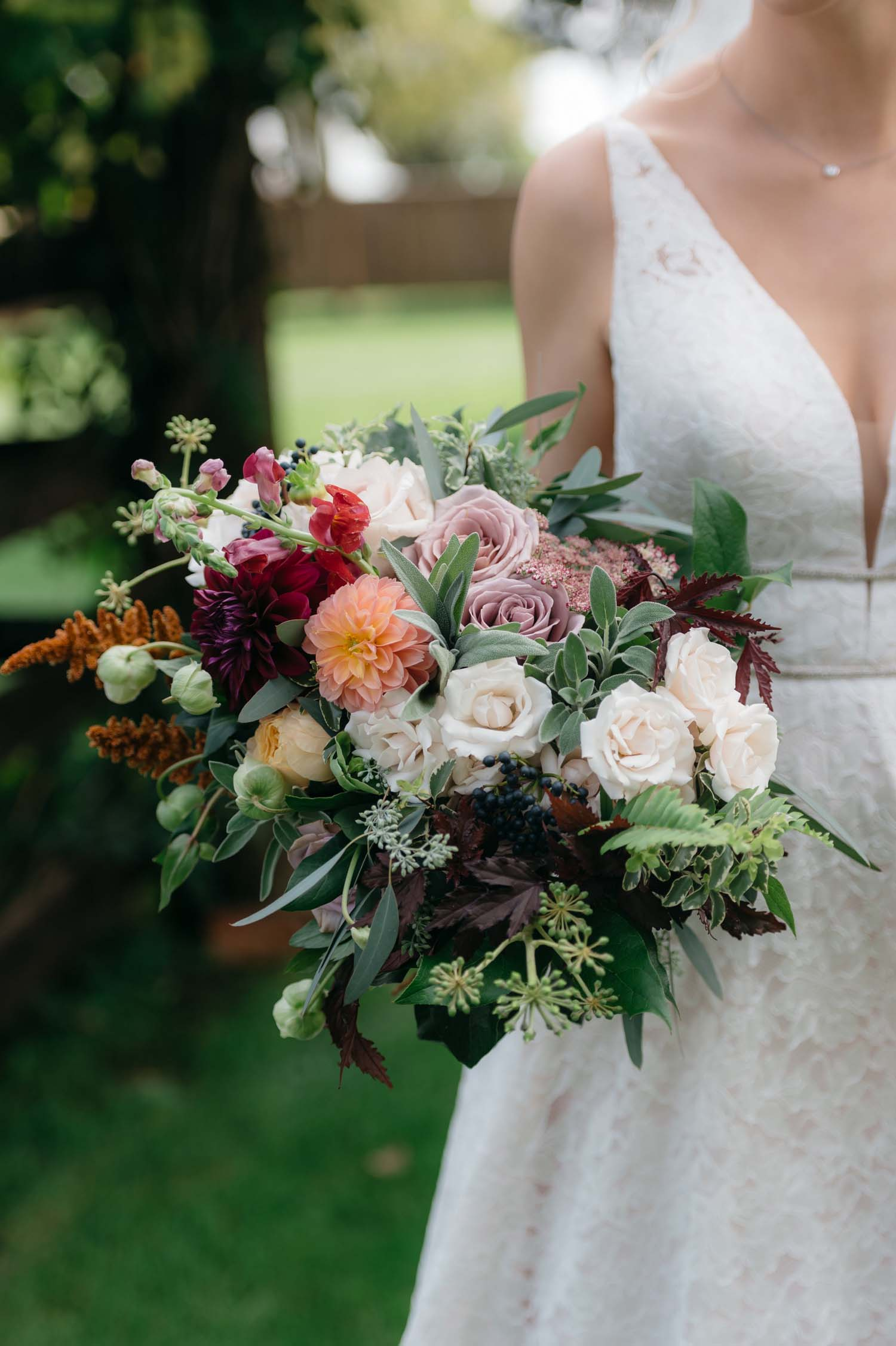 misty farm autumn wedding flowers