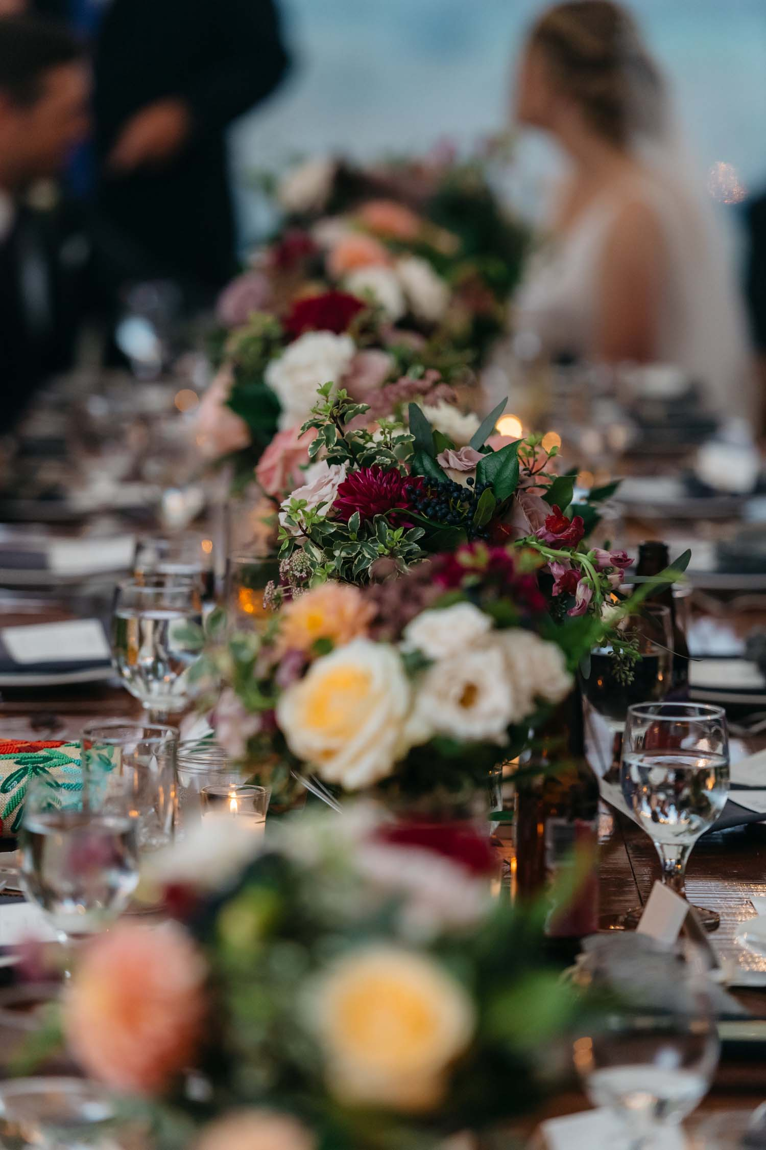 misty farm wedding reception head table