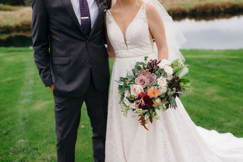misty farm wedding couple