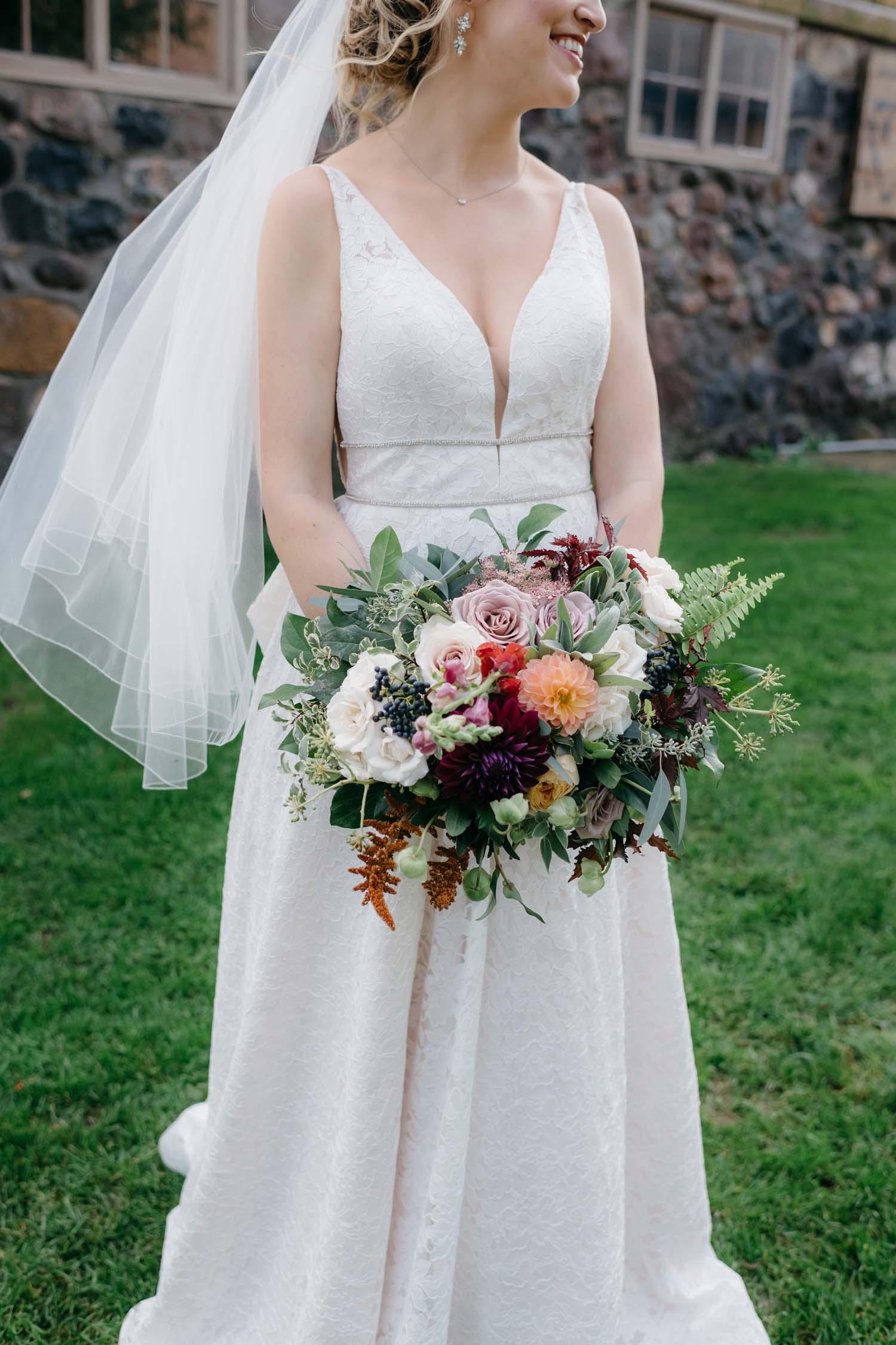 misty farm fall wedding flowers
