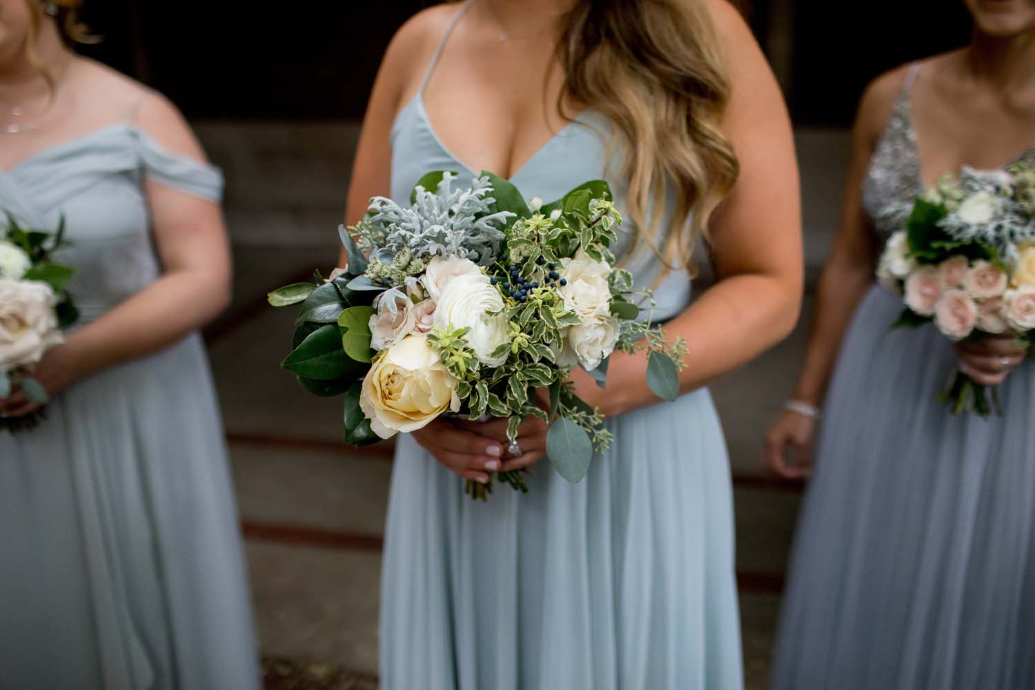 slate blue bridesmaid