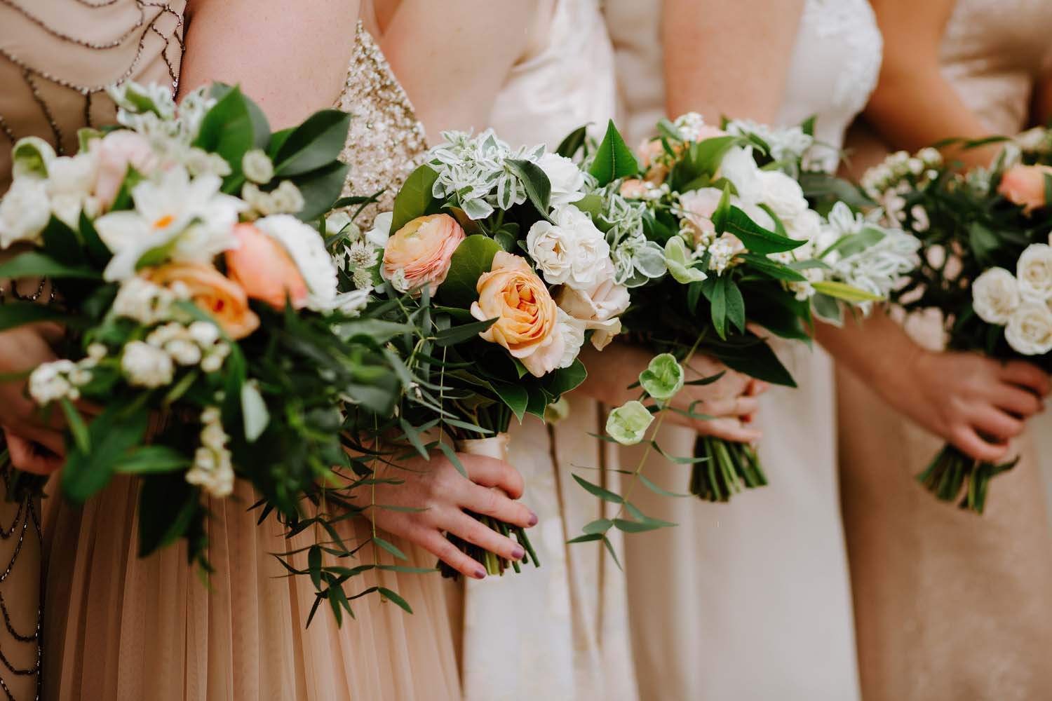 blush peach ivory wedding flowers