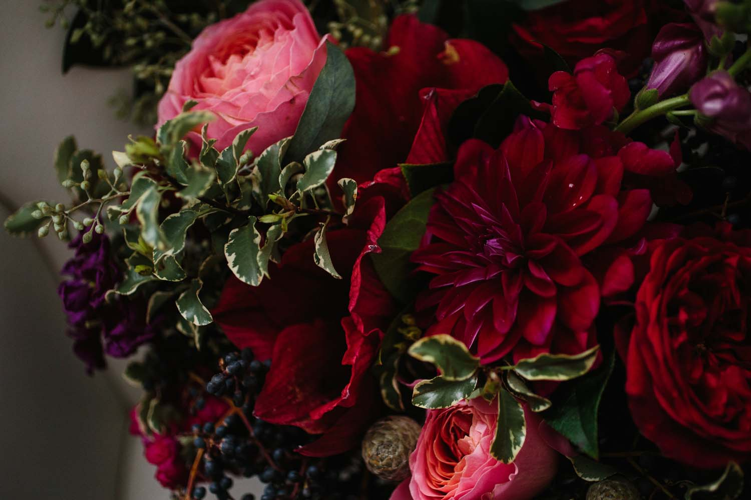 cranberry red wedding flowers