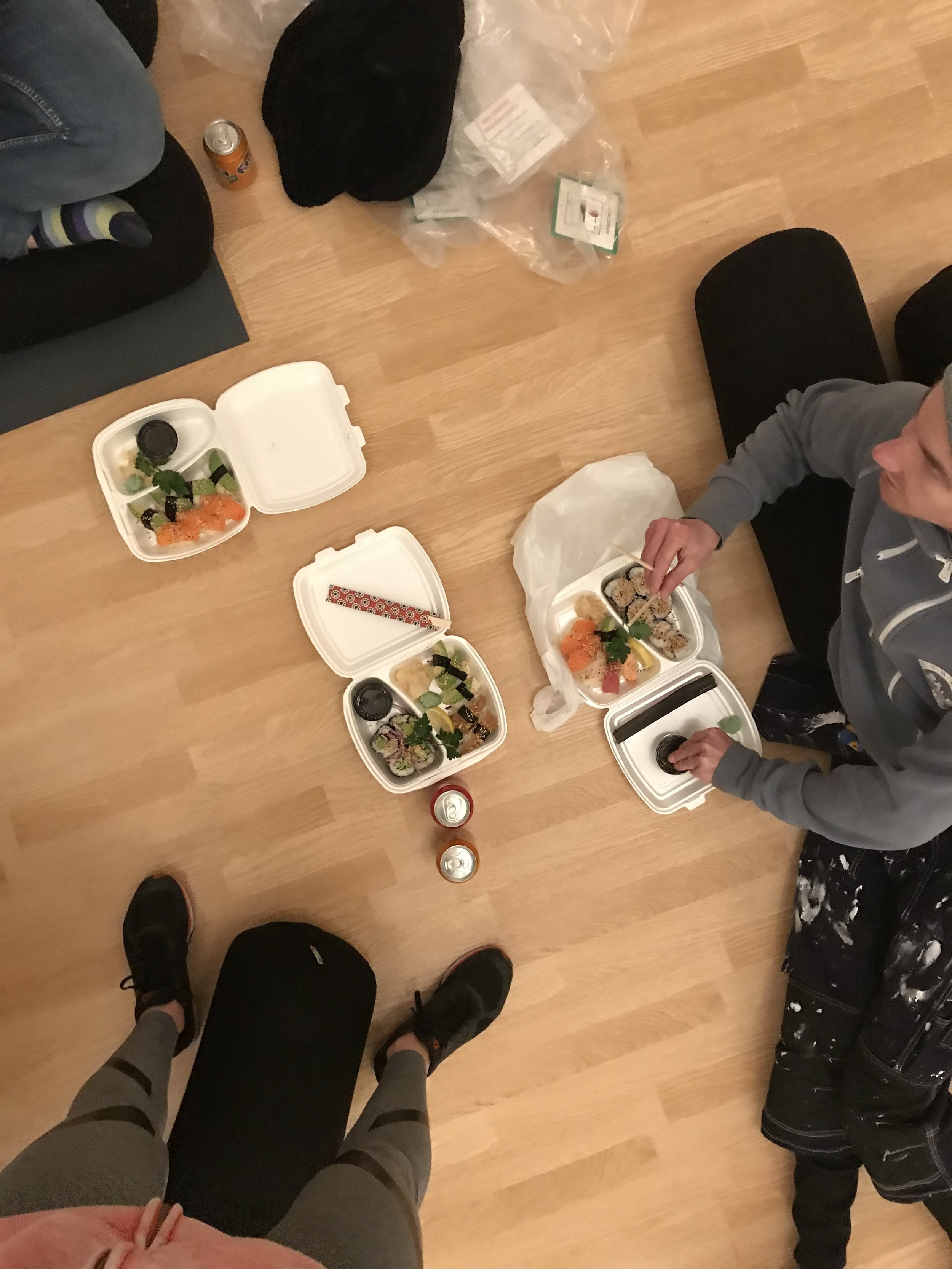 first dinner at The Yoga Studio