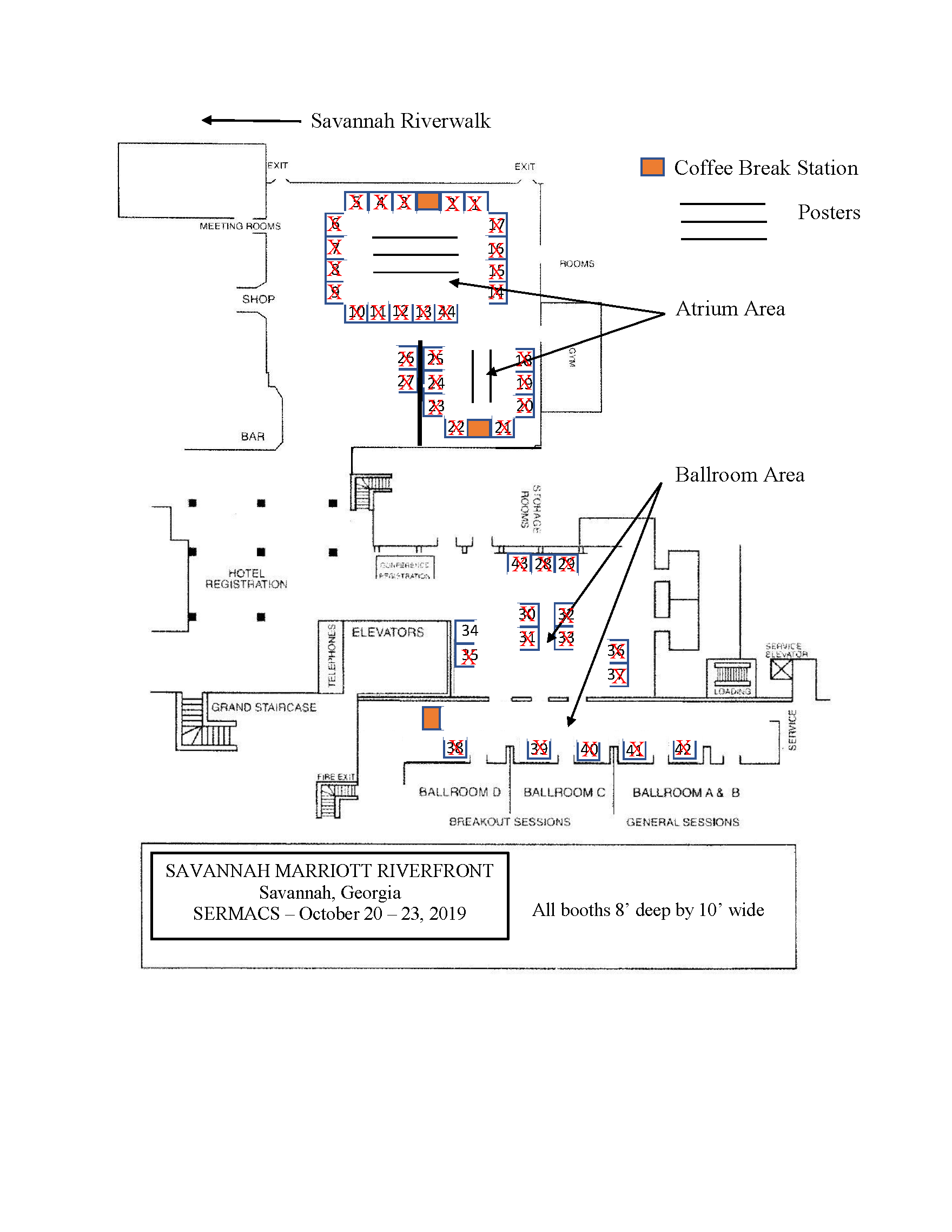 Proposed layout of exposition hall with posters