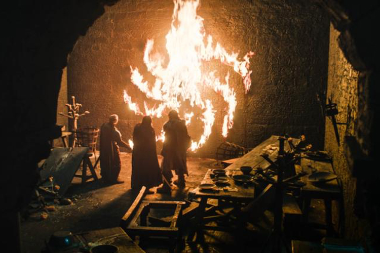 """""""Despite a shiny new opening credits sequence, much of 'Winterfell' is a trip down memory lane."""" -"""