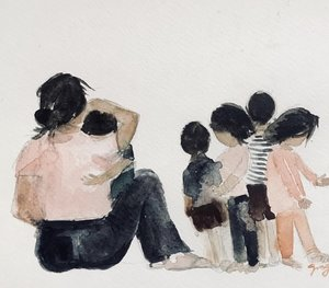 Drawing of mother surrounded by children, hugging