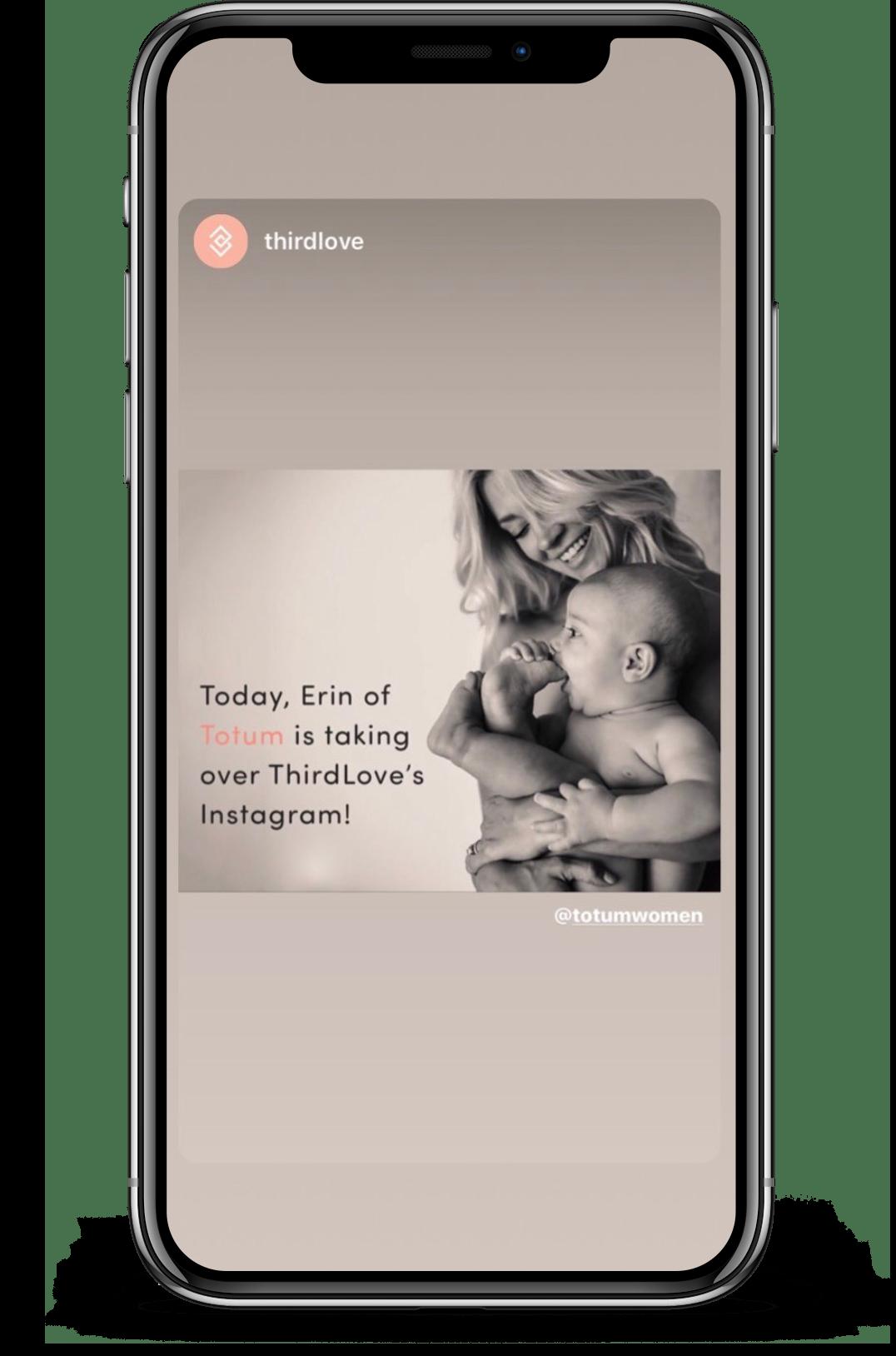 screen shot of Totum's ThirdLove Instagram Takeover