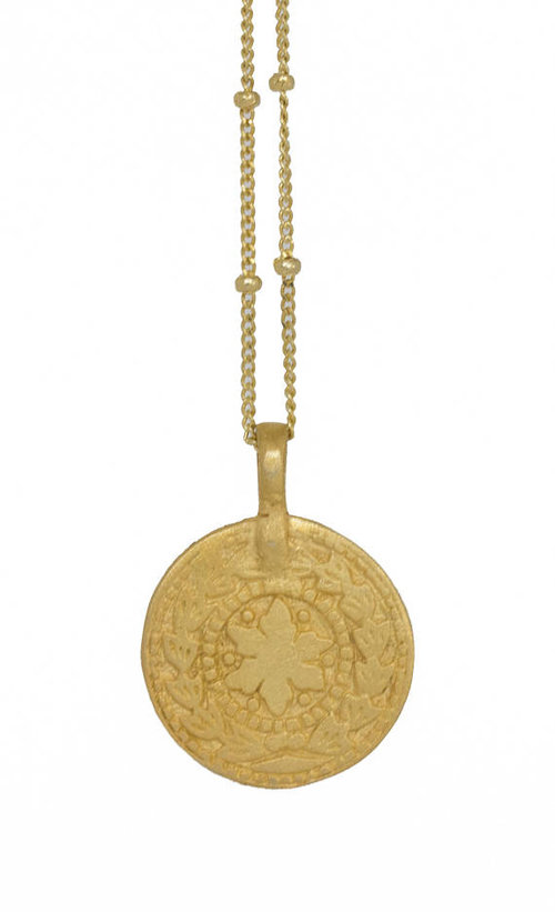 Copy of Coin Necklace with engraved Sun-Moon Rose Gold