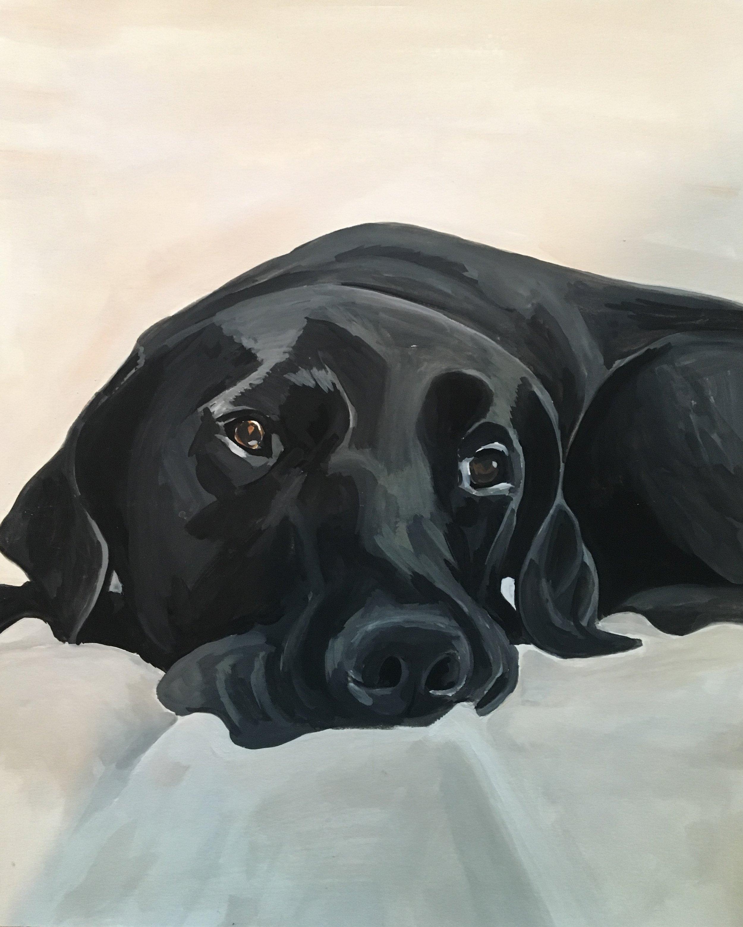 Custom portrait. Ernie, a very good dog. Gouache on paper. 2017