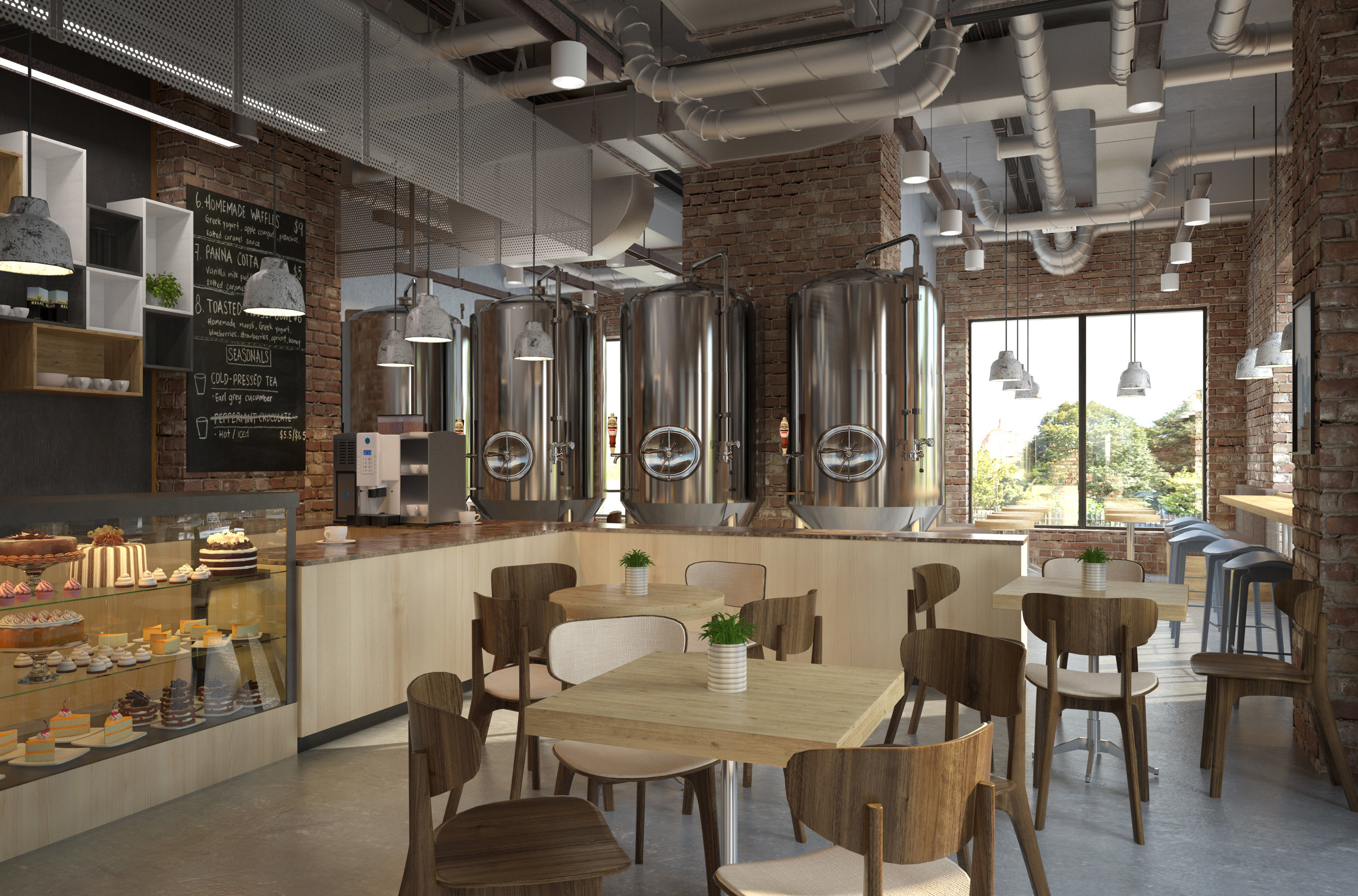 Rendering of a tasting room with an efficiently sized production area.