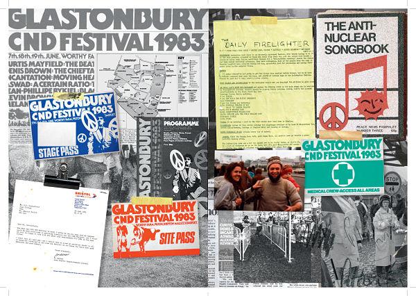 Political underpinnings. Excerpt from scrapbook © Glastonbury Festival