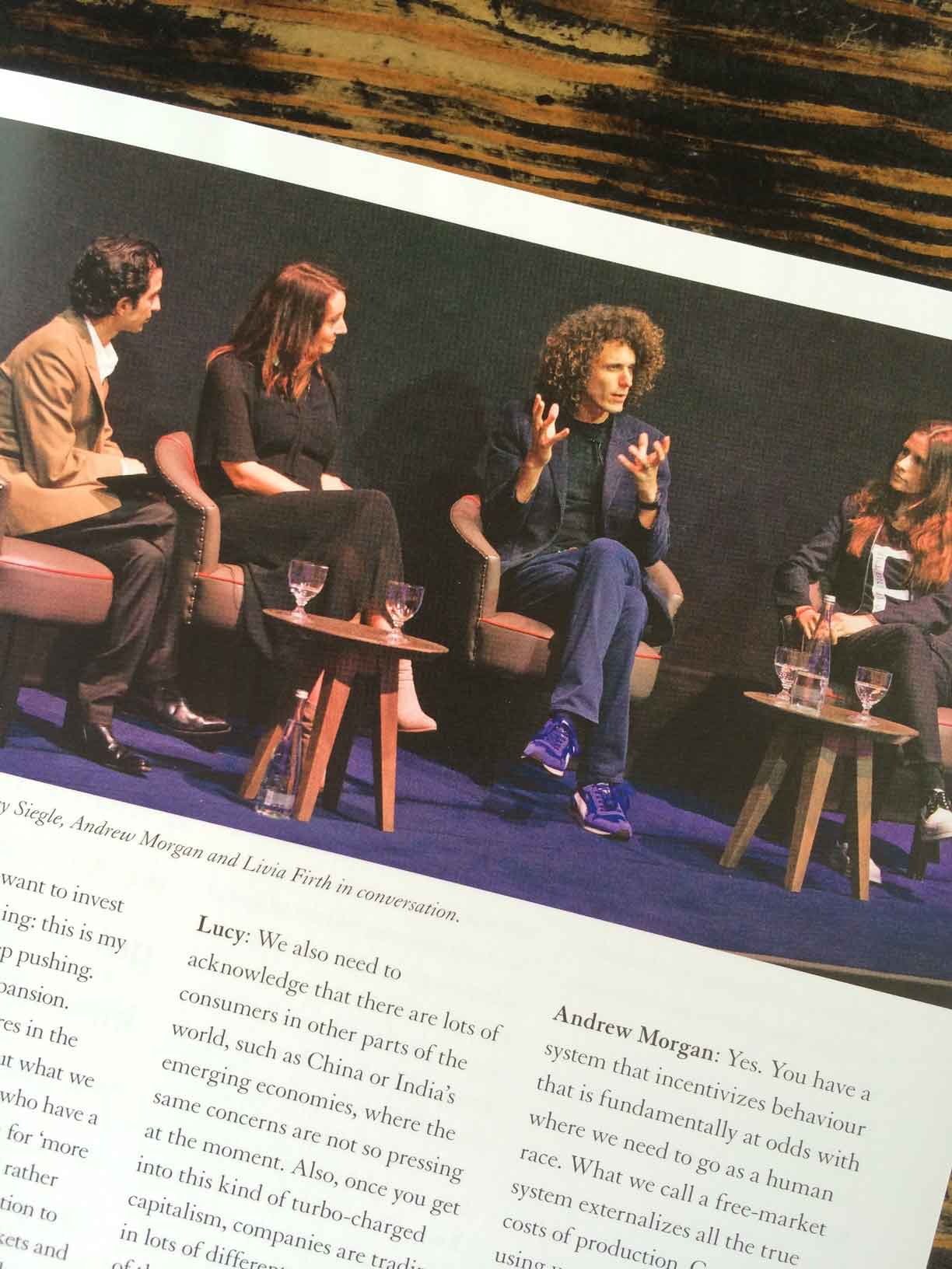 Iman Amed, Lucy Siegle, Andrew Morgan and Livia Firth in conversation.