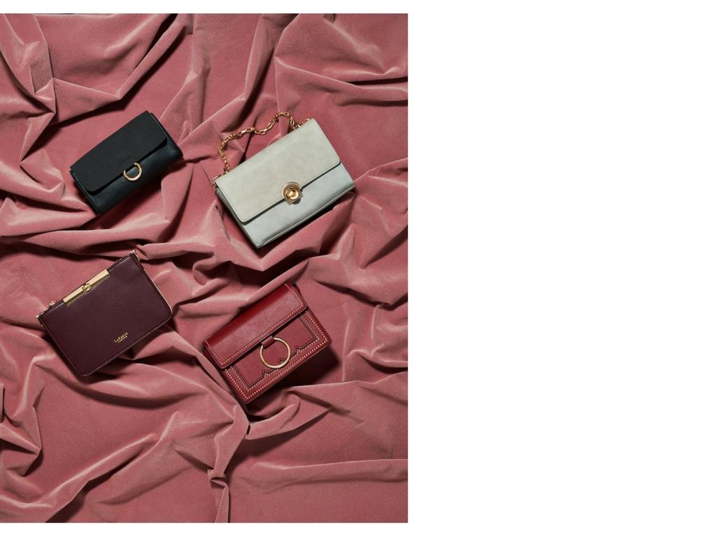 Clockwise from top: black cross body bag by Melie Bianco; Kelly cross body by La Bante; Cherie in burgundy by Melie Bianco; Alanis Bordeaux bag by La Bante.