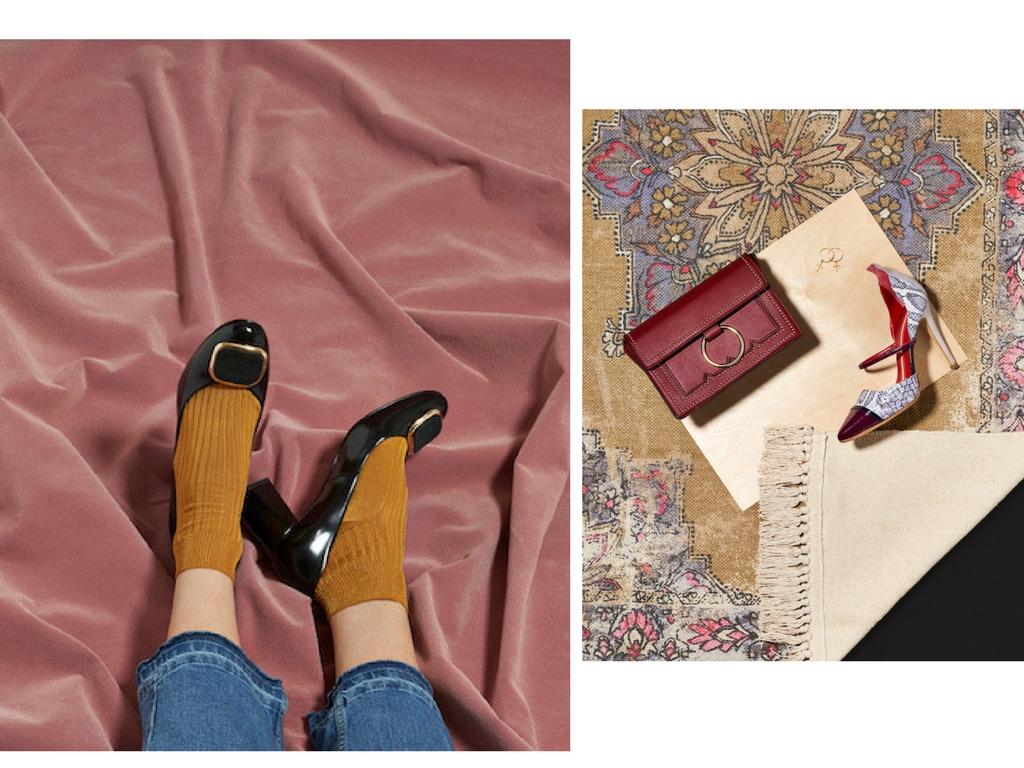 Left: Shoes by  Beyond Skin ; jeans by Free People; socks stylists own. Right: Cherie in Burgundy by Melie Bianco; Luna Snakeskin Pump by Ivana Basilotta; earrings by Rachel Entwistle.