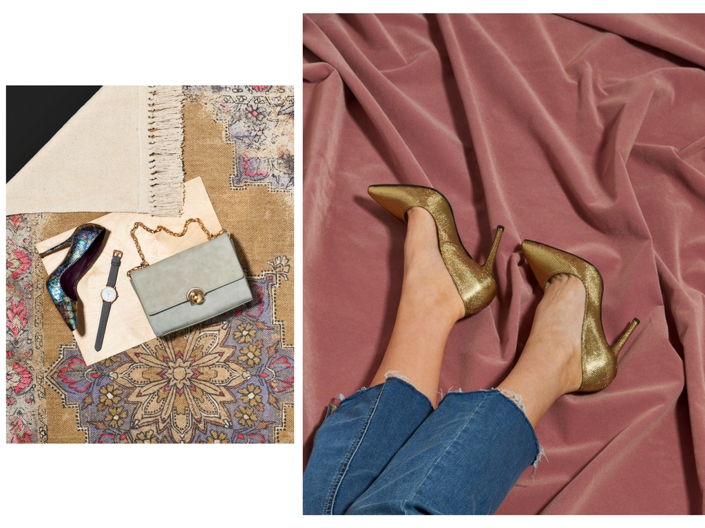 Left: Paris Petrol Faux Snake Stiletto by  Beyond Skin ; Kelly Cross Body by La Bante; Dark Grey and Rose Gold Watch by Votch. Right: Gold Stiletto by  Beyond Skin ; jeans by Free People.