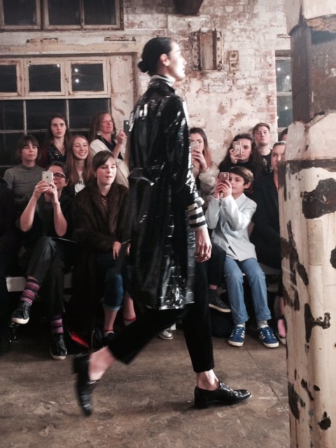 Sleekly androgynous: Erin O'Connor opens the Oxfam show. Picture: Bel Jacobs.