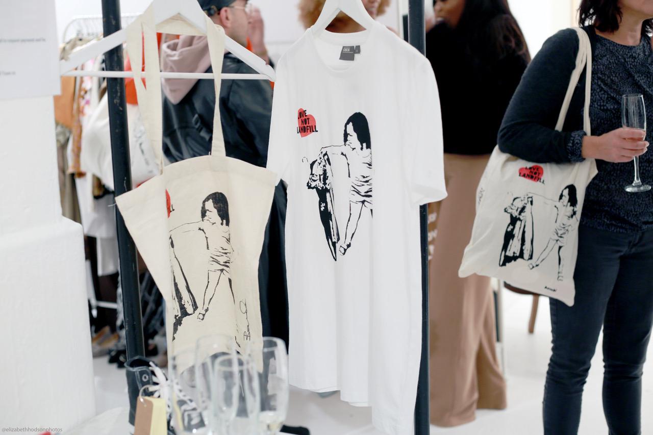 T-shirts featuring graffiti artist Bambi's bespoke TOMBOY design, created for #LoveNotLandfill
